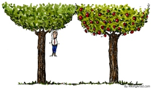 illustration of a guy climbing the wrong tree