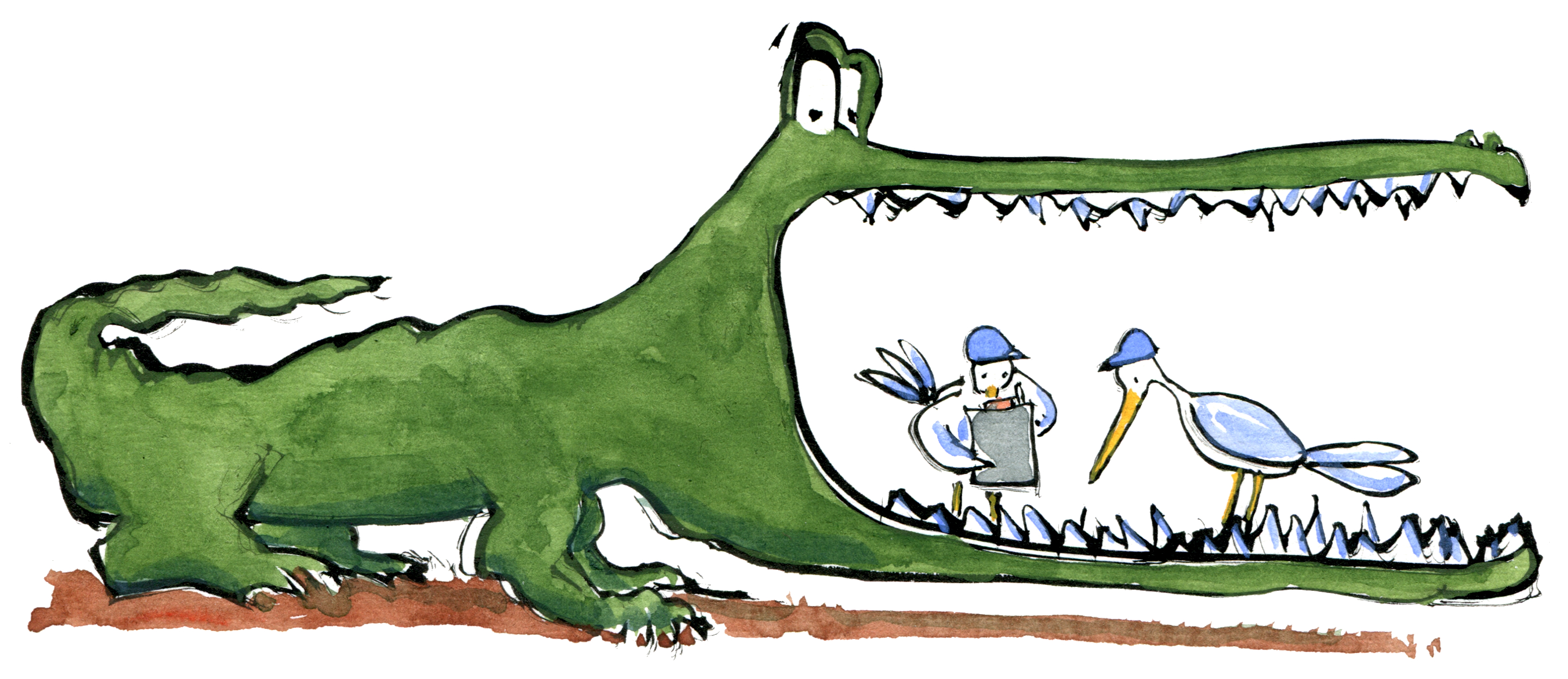 illustration of a Crocodile getting teeth fixed by birds