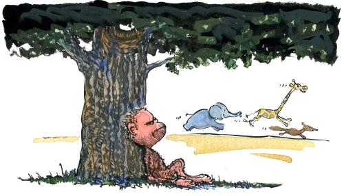 drawing of a caveman wondering under a tree
