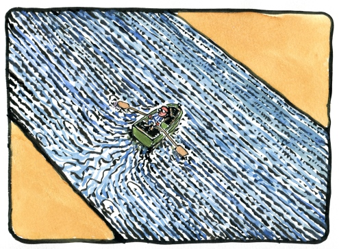 Color drawing, crossing the river same looking sides