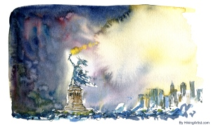 Watercolor Statue of Liberty in Storm New York