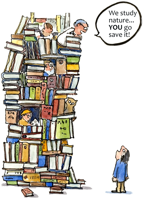 intellectuals in their book tower illustration