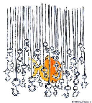Fish hiding among fish hooks