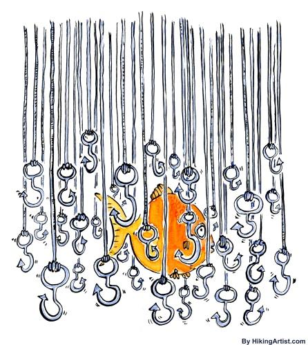 Fish hiding among fish hooks