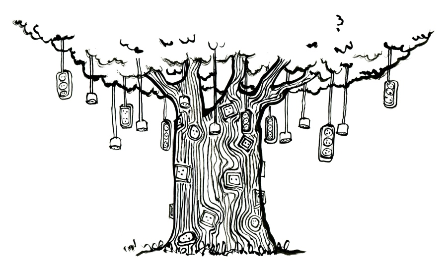 Blackwhite outlet tree · line drawing