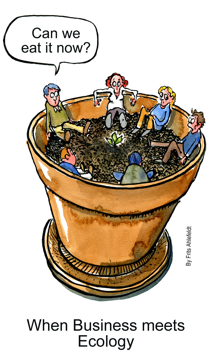 drawing of people in a pot, looking at a tiny sprout
