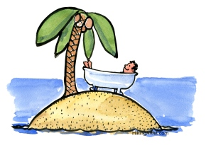guy in a bathtub on an island