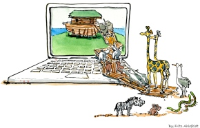 Drawing of zebras, elephants and other threatened animals going into an ark on laptop