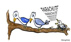 Fledgling trying to convince its bird parents to give it a parachute cartoon