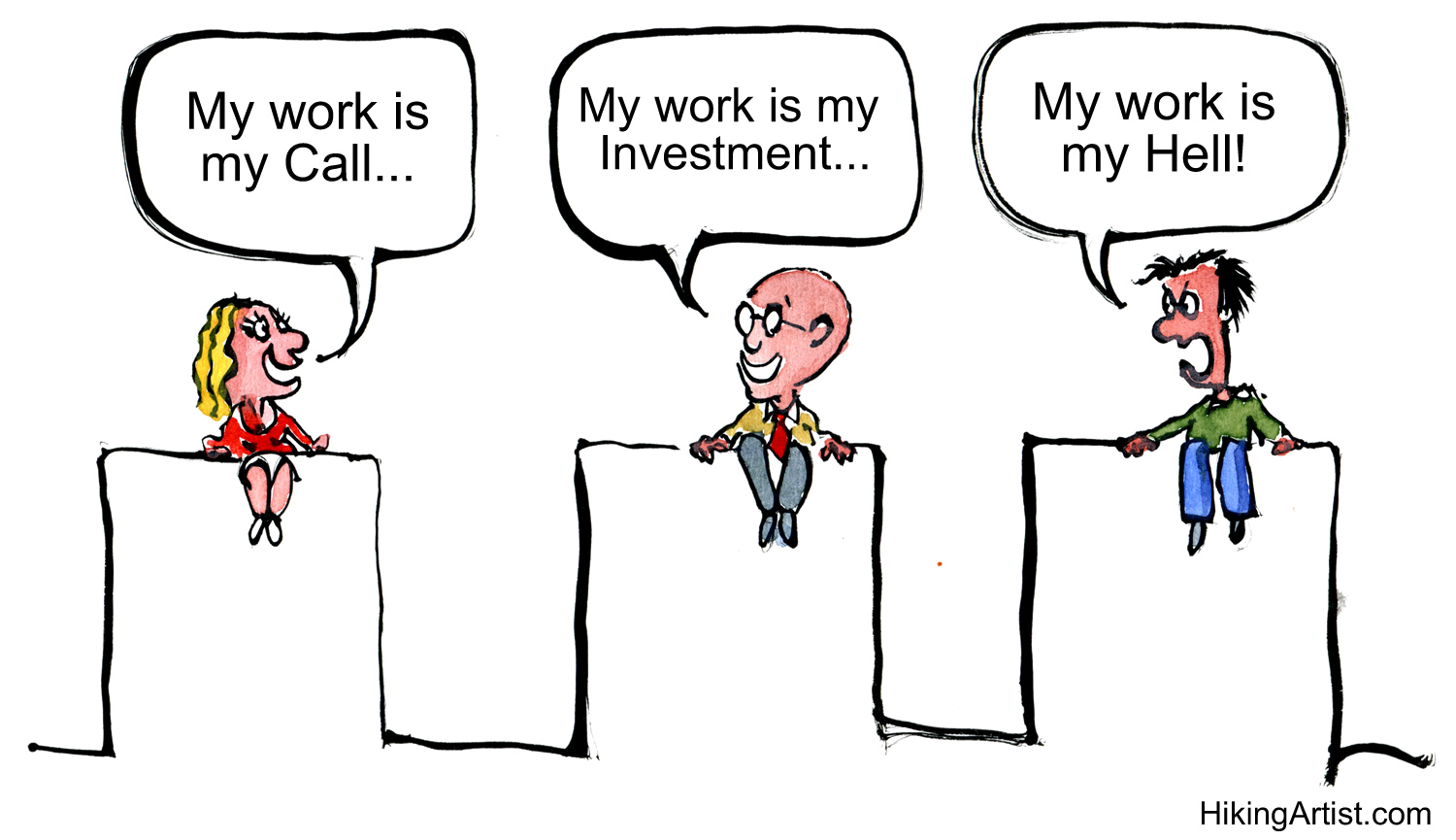 three people talking about why they work