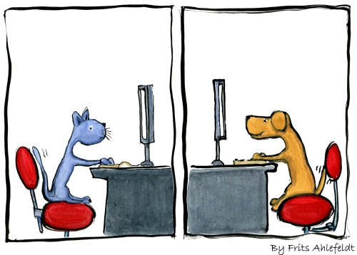 a cat and a dog in front of two flatscreens looking exited