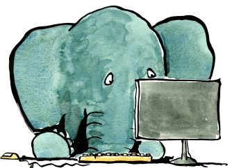 Elephant in front of computer