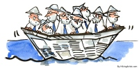 professors and people with knowledge in a small boat at sea