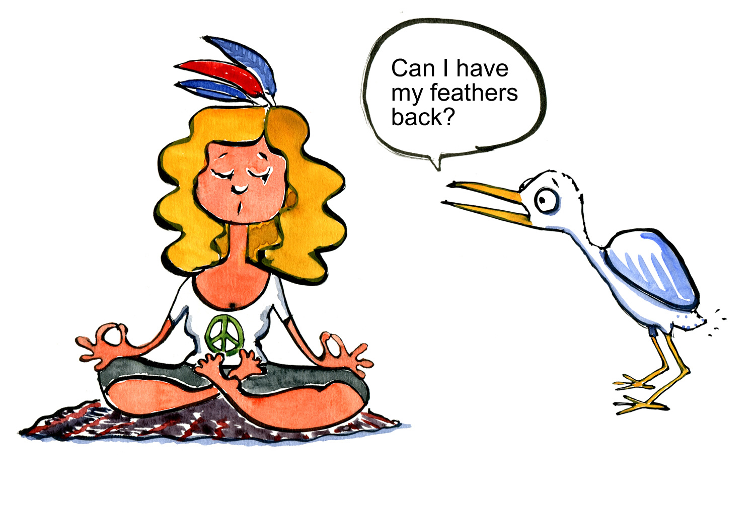 Bird talking to a woman meditating