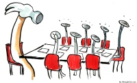 boss as hammer at a meeting others as nails