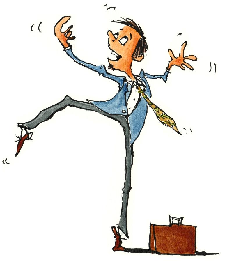 Salesman, businessman dancing around
