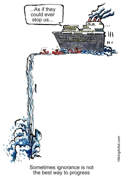 society as ship heading for the edge of a waterfall - version 2