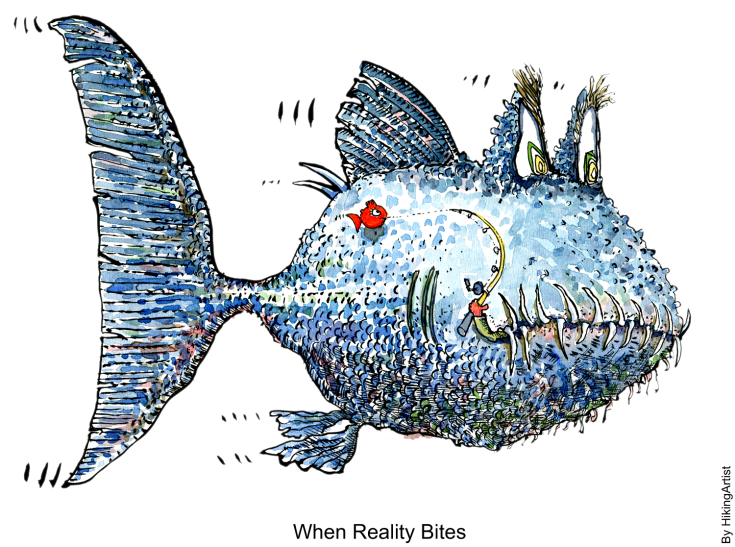 drawing of a big mean fish, that just ate the fisherman