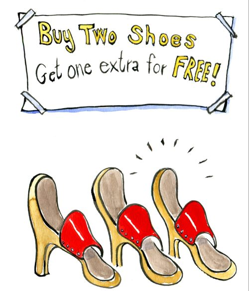 illustration of three shoes for sale