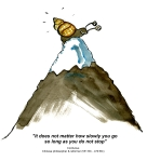 Drawing of a snail on a mountain with Confucius Quote