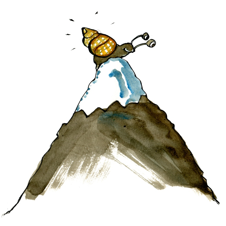 Drawing of a snail on top of a mountain