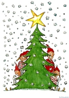 Christmas Tree illustration with family, snow and all