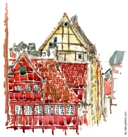 Corner house Copenhagen made in watercolor