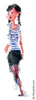 Watercolor of woman in shirt with stribes