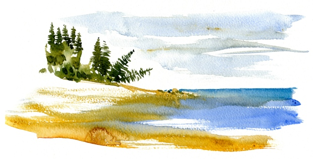 Watercolor of pinewood and the Baltic Sea - Bornholm