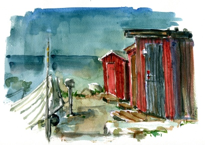 Watercolor from Hike on South Bornholm, Baltic Sea, Denmark