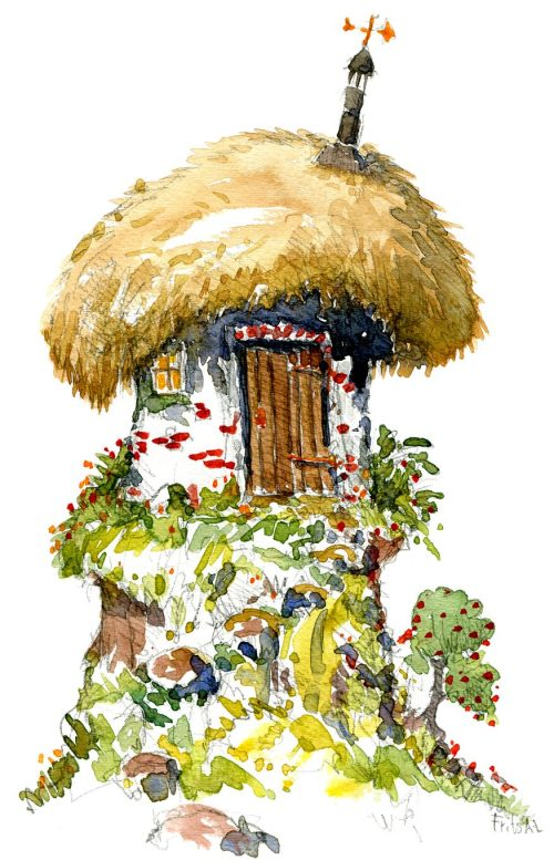 drawing of a fantasy house