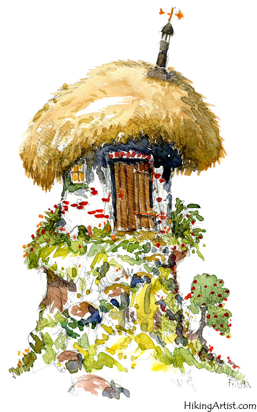 watercolor sketch of fairy tale house the hiking artist project