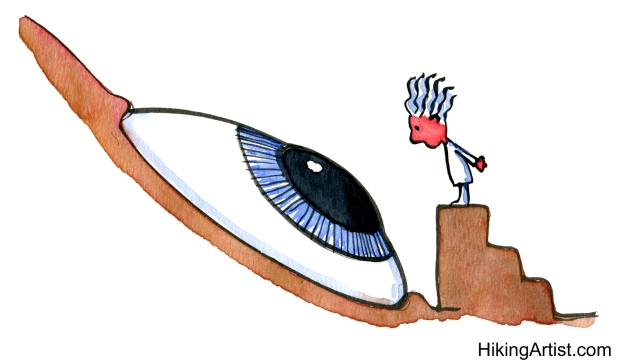 Drawing of a scientist looking at an big eye looking at him