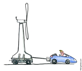 electric car dragging a windmill