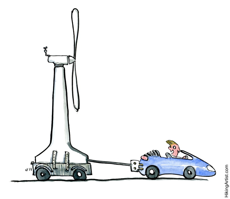 electric car dragging a windmill