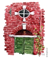 Watercolor from Copenhagen, Old door, red house