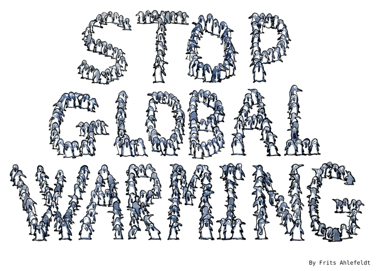 """Drawing of small penguins making up the text """"stop global Warming"""""""