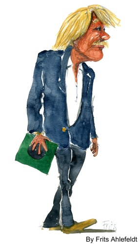 Man with record, walking. Watercolor