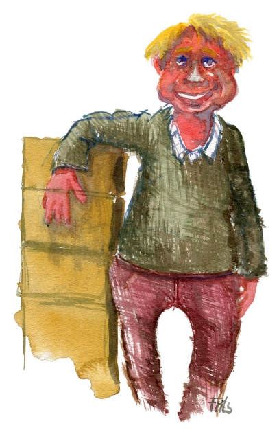 Man standing by boxes. Watercolor