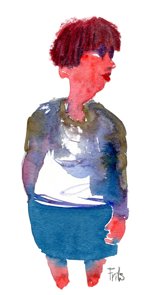 watercolor of red haired woman