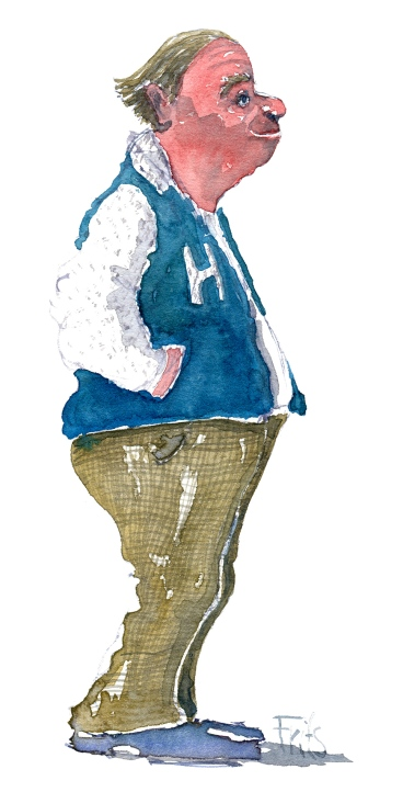 Watercolor - man with hands in his jacket pockets
