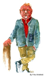 Red haired man standing. Watercolor