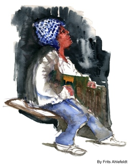 Man sitting on box. Watercolor