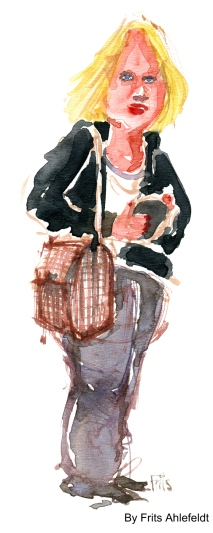 Blond woman standing with Bag. Watercolor