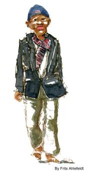 Dark guy with hat. Watercolor