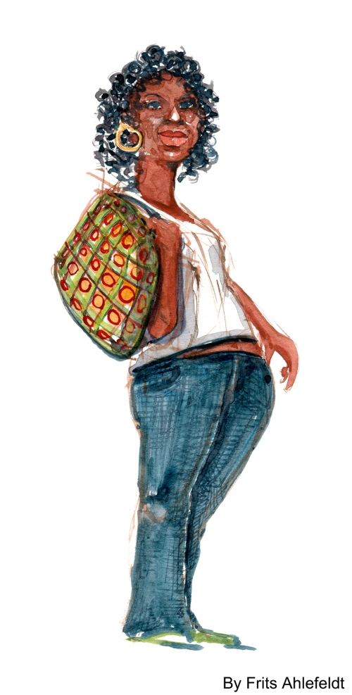 Watercolor of a Spanish looking woman
