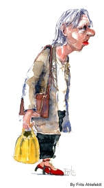 old woman with yellow bag, walking. Watercolor