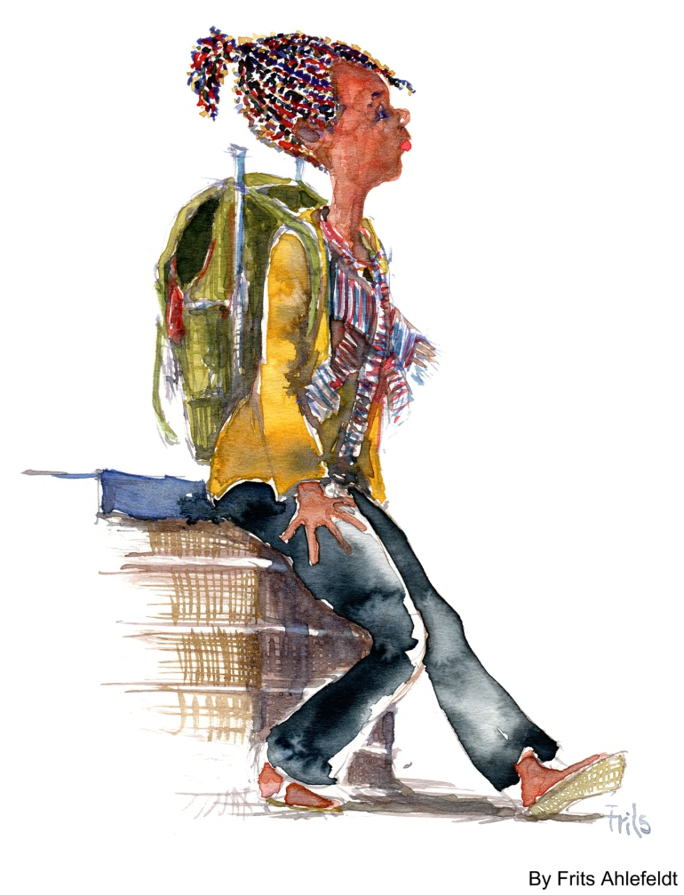 Watercolor of Rasta girl with old backpack