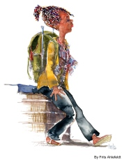 Rasta girl with Backpack. Watercolor