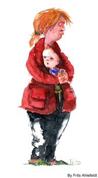 Watercolor woman with small kid